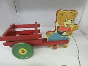 Vintage N N Hill Brass Co Wooden Bear Wagon Pull Toy 820-e