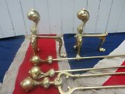 Ornate Antique Vintage Brass Ball And Claw Fireplace Firedogs Poker Shovel