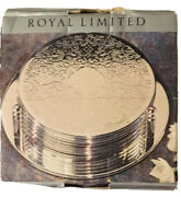 Vintage Royal Limited Silverplate Leather Backed Coasters Set Of Six New