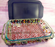 Pyrex Glass Baking Dish Colorful Beaded Boho Carrier And Lid 3 Quart 13x9 Usa