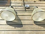 Vintage Holophane Industrial Double Glass Lamp Shade Pendant Ceiling Light Retro