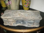 Hand Carved Incolay Stone Jewelry Box Trinket Box With Black Velvet Lining