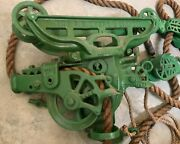 Antique The F. E. Myers And Bros Co. Hay Trolley Ropes And Pulleys. Must See....