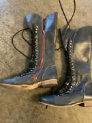 Steve Madden Lace Up Mid Calf Boots Side Zip Leather Dark Grey W/ Red Size 7.5
