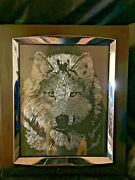 Home Decor Black Framed Chrome Silver Metal Wolf Wall Or Desk Picture 11x13