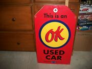 Large Chevrolet Ok Used Cars Tag Metal One Sided Sign -  28 X 16 In.