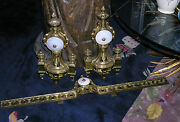 Vintage 1940s French Gold Bronze And Alabaster Chenets Andirons W Matching Fender