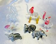 Lot Of 7 Miniature Carved Stone Blown Glass And Ceramic Elephants