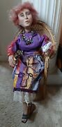 Mrs. Roper Three's Company Wax Doll In Wicker Peacock Chair Vtg, Audra Lindley