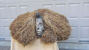 Antique 1800and039s Rare African Congo Ritual Fetish Wood Carved Painted W/straw Hair