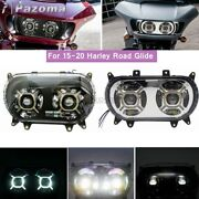 For 15-20 Harley Road Glide Cvo Standard Fltrx Motorcycle Led Headlight W/ Drl