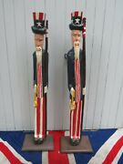Pair Of Hand Carved Primative Wooden Painted American Uncle Sam Folk Art Statue