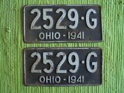 1941 Ohio License Plate Pair Oh 41 Tag Plates 2529-g