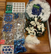 Lot Of Silver And Blue Christmas Decorations Wreaths And Ornaments