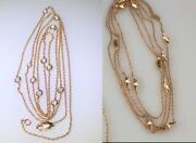Two 18k Yellow Gold Long Chains Diamonds And Gold Leaves 66.75 , Multi Charm