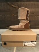Ugg Purl Cardy Knit Women's Cream / Chestnut Boots Size 7 Model 1094949