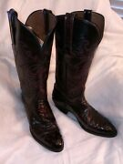 Lucchese Womenand039s Western Boots 8b Exotic Black Cherry Full Quill Ostrich/goat