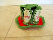Rare Vintage Funky 1970's Columbia Beer Can Hat Green And Red Chrocheted Knitted