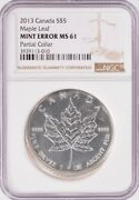 Ngc Canada 5 2013 Silver Maple Leaf Partial Collar And Finning Ms61