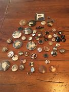 Antique Vintage Photograph Mourning Jewelry Brooch Pin Ring Fob Button Lot