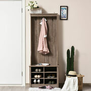Wooden Entryway Coat Rack With Hook, Single Shelf, And Cube Storage, Brown