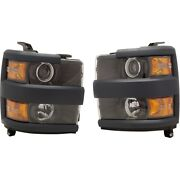 Pair Set Of 2 Headlights Lamps Left-and-right For Chevy 84388597 84388596