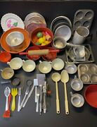 Vintage 1950s 1960s Childs Cooking Stove Toy Utensils Kitchen Play Set
