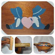 Hand Crafted Solid Wooden Child Country Stool Short 5 Tall With 3 Side Handle