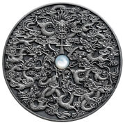 Nine Dragons Chinese Legend Niue 5 2020 Af Silver 2oz W/ Mother Of Pearl Inlay