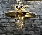 Old Antique Ship Brass Wall Hanging Light With Brass Deflector Shade Lot Of 10