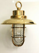 Old Antique Nautical Ship Brass Vintage Pendant Light With Shade/hook Lot Of 2