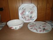 Mikasa Continental Silk Flowers Platters And Serving Bowl 3 Pc Set
