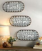 Metal Country Farmhouse Basket Sentiment Wall Signs Decor-family, Home, Welcome