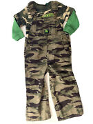 John Deere Green Camouflage Overalls And Shirt Outfit Boys 2t/3t 100 Cotton