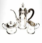 Vintage And Co Sterling Silver 3 Piece Coffee Set With Monogram 6271