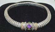 Alwand Vahan Signed 14k Yellow Gold And Sterling Silver Necklace And Slide Pendant