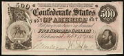 1864 500 Dollar Confederate States Note Civil War Currency Paper Money T-64