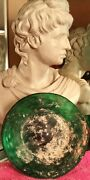 Lovely Authentic 2,000 Yr Old Ancient Roman Glass Bowl Medium Dark Green Color