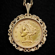 Us 1904 Liberty Head Quarter Eagle 2.50 Dollar Gold Coin 14k Gold Necklace New