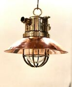 Old Archaic Antique Ship Brass Wiska Hanging Light With Copper Shade Lot Of 10