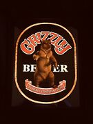 Vintage Rare Grizzly Beer Canadian Mirror Lights Up Framed Hanging Wall Sign