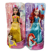 Disney Princess Royal Shimmer Ariel And Belle Dolls Lot Of 2 New In Box