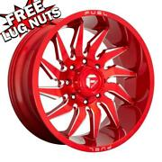22 Inch 22x10 Fuel D745 Saber Candy Red Wheels Rims 8x180 -18