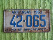 1953 Arkansas License Plate Ar 53 Tag Land Of Opportunity Full Size 42-065
