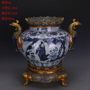 18.7 Old Porcelain Yuan Dynasty Blue White Inlay Copper People Flower Jar Pot