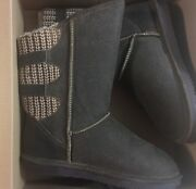 Bearpaw Womenand039s Boshie Wide Boots Chestnut Distressed Look Dark Brown Size 9w