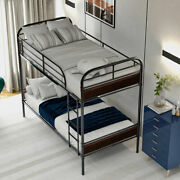 Convertible Twin Over Twin Bunk Bed Wi/sturdy Steel Frame Upholstered Headboard
