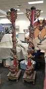 Antique Chinese Temple Poles / Columns Hand Carved And Painted Dragons And Foo Dogs