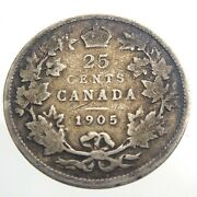 1905 Canada 25 Cent Silver Quarter Km11 Circulated Canadian Edward Vii Coin T590