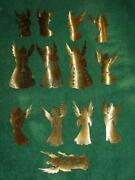 Vintage Set Of 13 Brass Angel Music Band Christmas Ornaments - Gold Toned